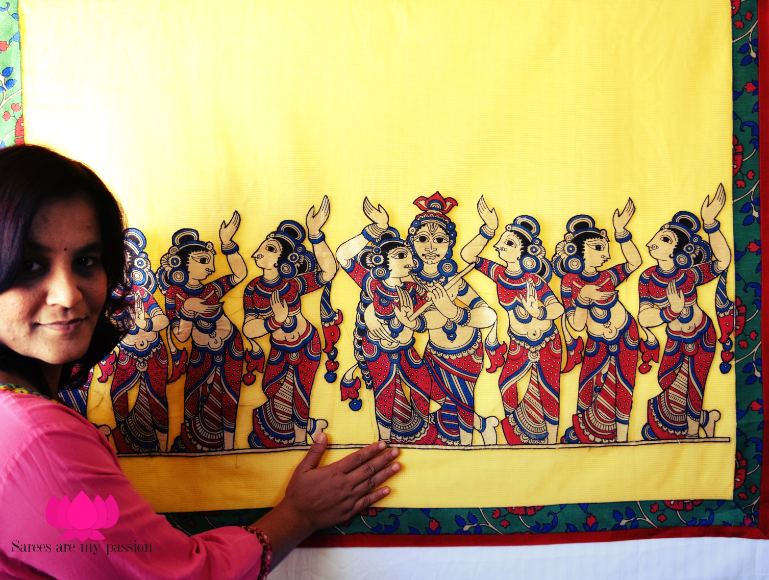 sarees are my passion kalamkari applique work on cotton saree