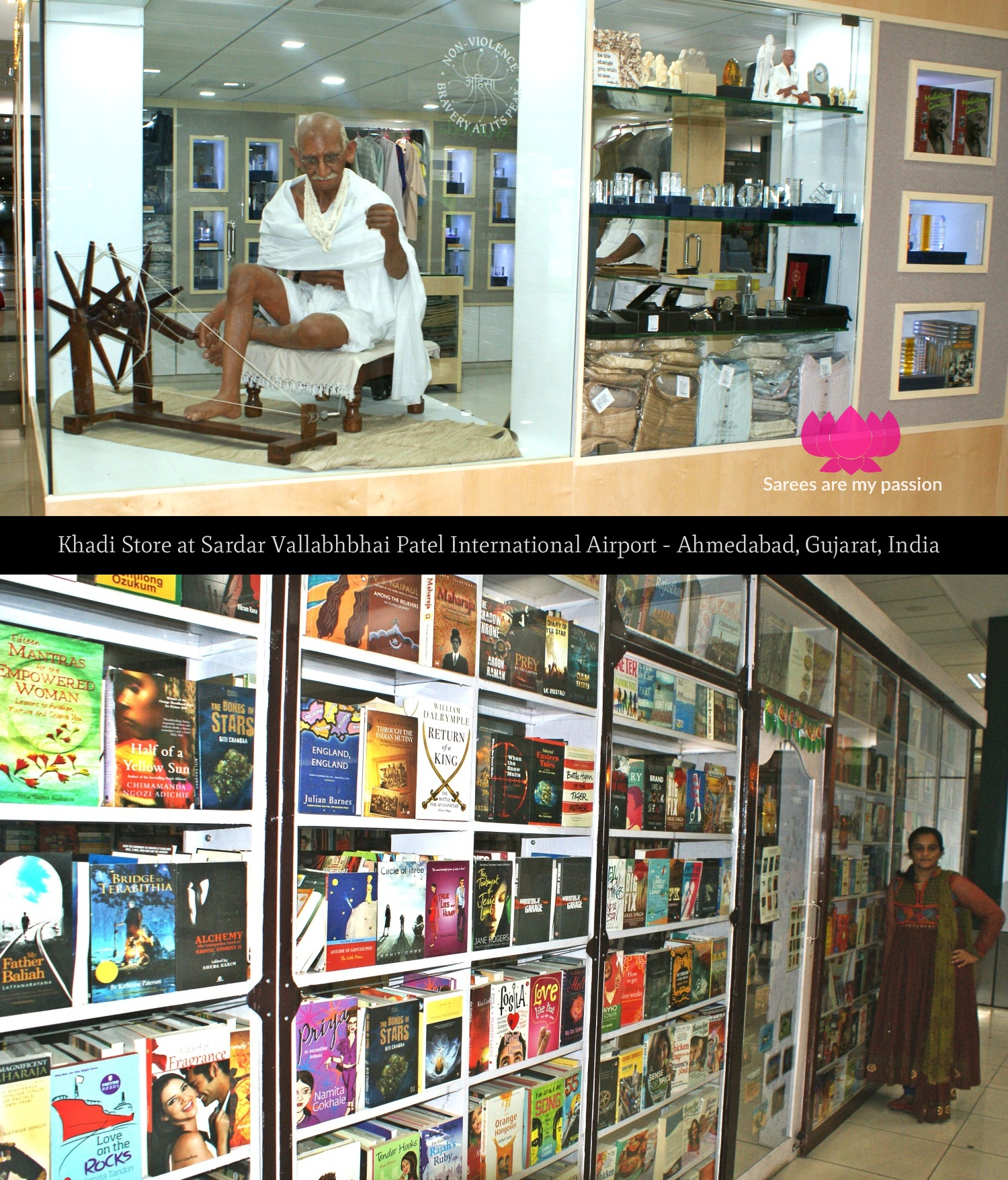Khadi Store at Sardar Vallabhbhai Patel International Airport Ahmedabad Gujarat India - Sarees are my passion